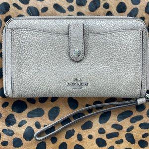 Coach zip around leather wallet w/ wrist strap